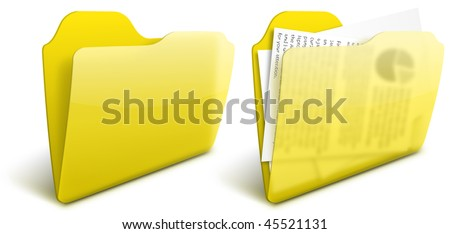 Realistic blurry transparent yellow folder vector icon - EPS 10. See other colors in my portfolio - stock vector