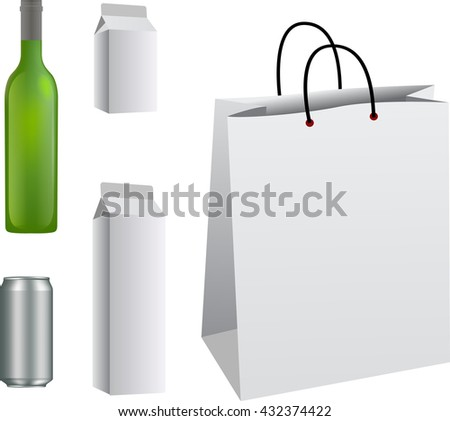 Realistic bottle And Package. Packing White package On White Background