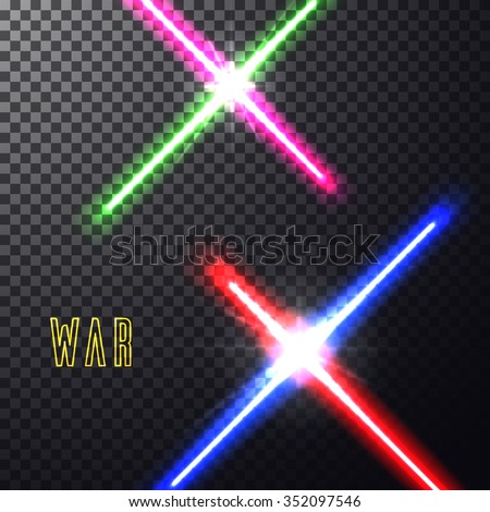 Realistic bright  laser halogen beams set. Crossed light swords on isolated transparent black background. Weapon futuristic from star war. Vector illustration, design elements for your projects - stock vector