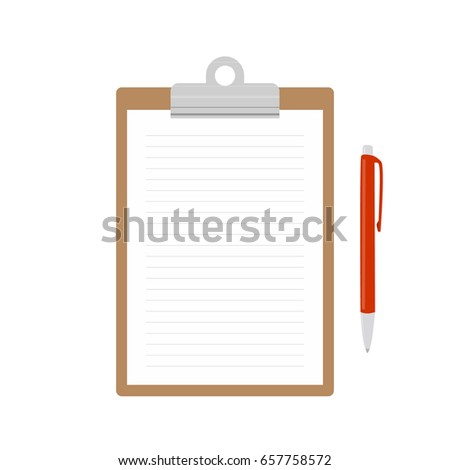 Realistic brown clipboard with blank white sheet and red pencil. Templates of corporate identity. Vector illustration