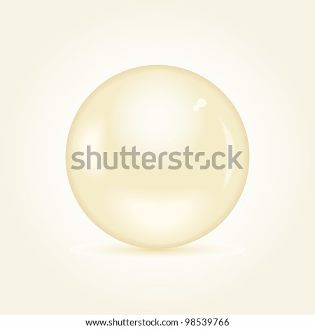Realistic Brown Pearl Bead on Grey Yellow Background. Vector Illustration EPS8 - stock vector