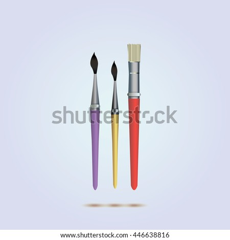 realistic  brush set. icon vector. artist paint brushes