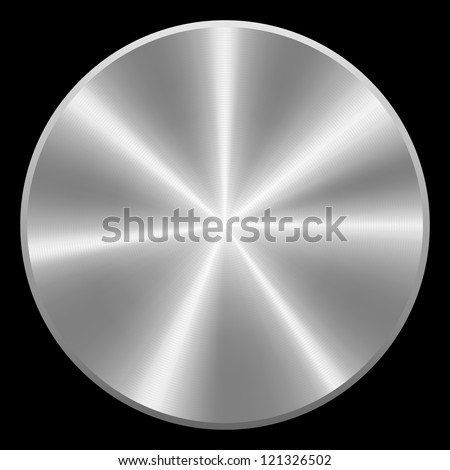 Realistic brushed metal button. Vector eps10. Isolated - stock vector