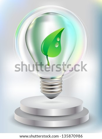 Realistic Bulb with green leaf for eco Design, Vector