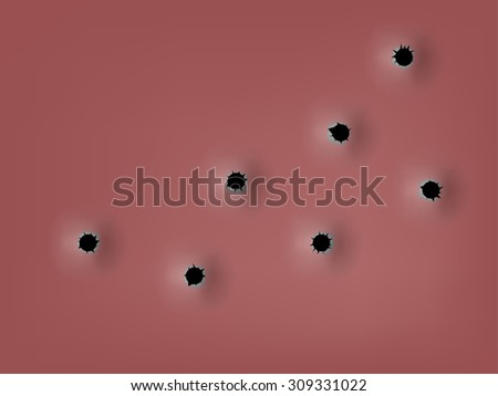 realistic bullet holes from a firearm in a metal plate,texture design concept - stock vector