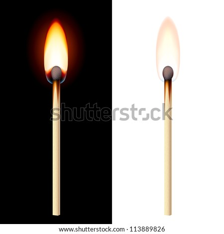 Realistic burning match on white and black background. - stock vector