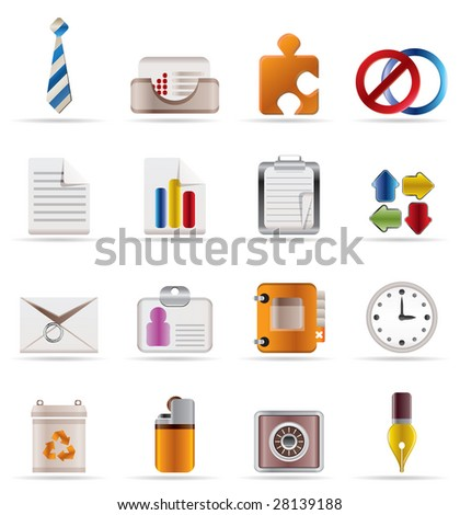 Realistic Business and Office Icons - stock vector