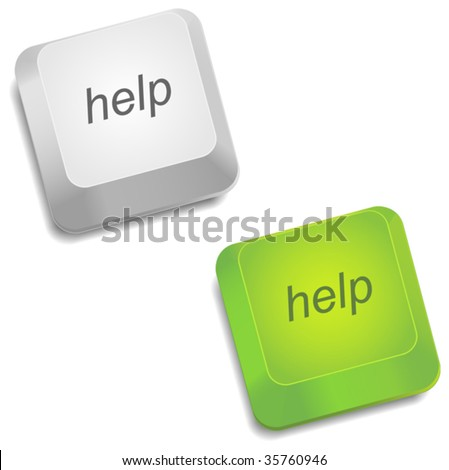 Realistic button help - stock vector