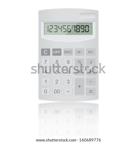 Realistic calculator on isolated white background