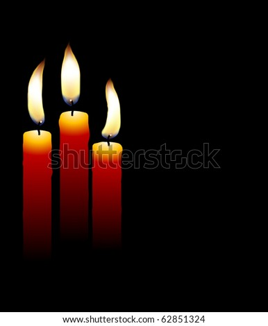 Realistic candles with glowing flames (eps10 vector) - stock vector