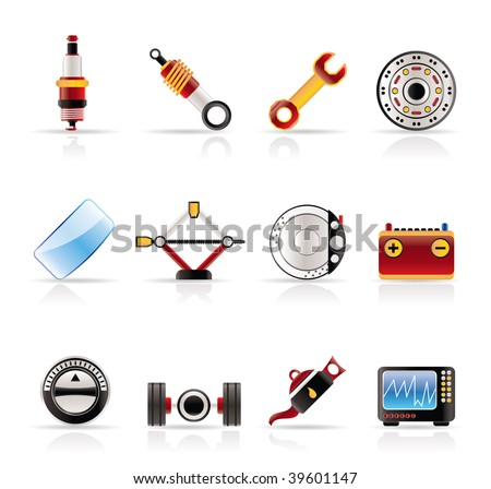 Realistic Car Parts and Services icons - Vector Icon Set 1 - stock vector