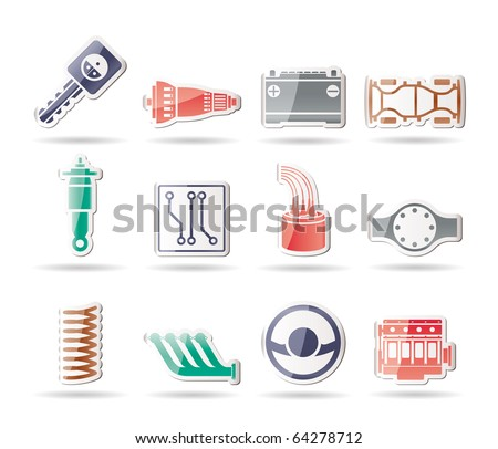 Realistic Car Parts and Services icons - Vector Icon Set 2 - stock vector