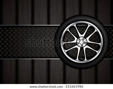 Realistic car wheel with shining rim.Vector illustration  - stock vector