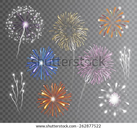 Realistic carnival multicolored firework explodes on transparent background isolated vector illustration - stock vector