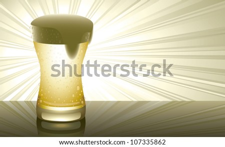 Realistic cartoon illustration of a glass of beer on a reflective surface with rays of light shining from behind it. Horizontal composition with plenty of copy space. - stock vector