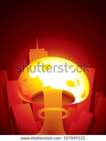 Realistic cartoon illustration of a mushroom cloud from a nuclear weapon exploding among tall buildings in the downtown area of a large city. - stock vector