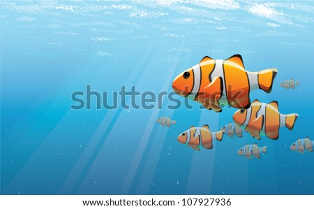 Realistic cartoon illustration of a school of clown fish, viewed just under the water's surface. Plenty of copy space. - stock vector