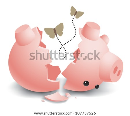 Realistic cartoon illustration of an empty, broken, ceramic piggy bank with moths flying out from inside. Isolated on white. - stock vector