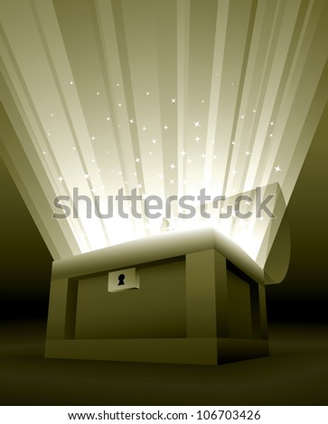 Realistic cartoon illustration of an open treasure chest with golden rays of light and sparkles shooting out of it. - stock vector