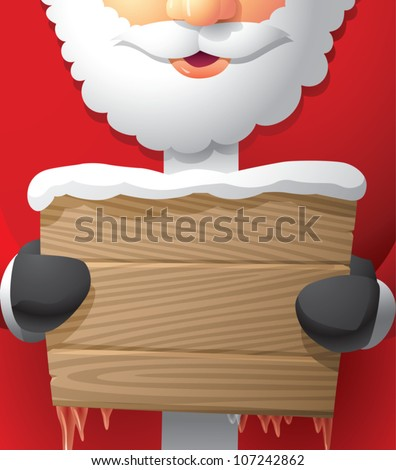 Realistic cartoon illustration of Santa Claus holding a blank wooden sign.
