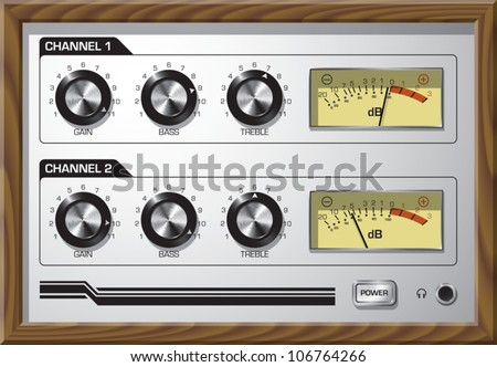 Realistic cartoon illustration of the faceplate of a retro style preamp, with dials that go to 11. - stock vector