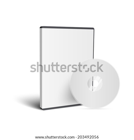 Realistic Case for DVD Or CD Disk with DVD Or CD Disk. Vector Illustration - stock vector