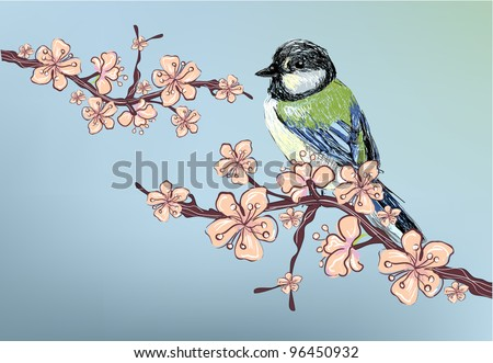 Realistic Cherry blossom, sakura and realistic sparrow free hand drawing - stock vector