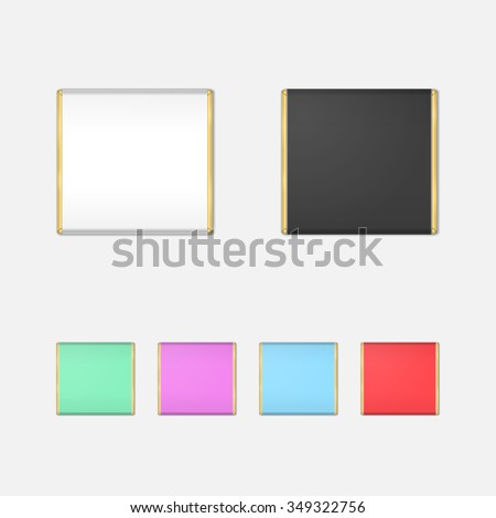 Realistic Chocolate Bar Packaging Mock-up Set. Isolated Wrapping Template. Vector. - stock vector