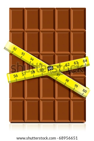 Realistic chocolate with measure tape on white background. Diet concept - stock vector