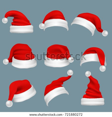 Realistic christmas santa claus red hats isolated vector set. Santa claus cap to xmas holiday celebration illustration