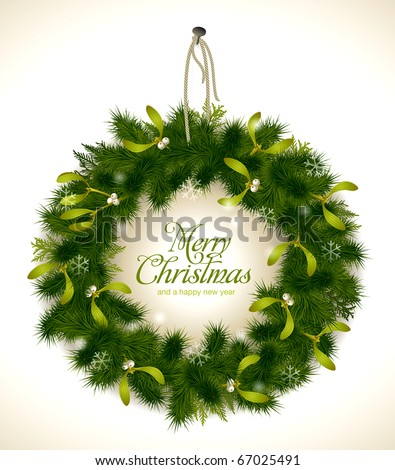 realistic christmas wreath with fir and mistletoe - rope and nail are grouped and easily removable - stock vector
