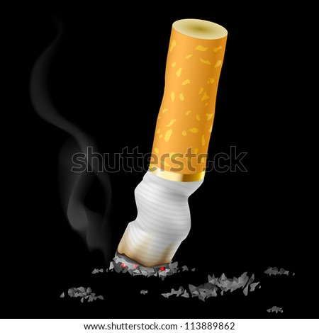 Realistic cigarette butt on black background