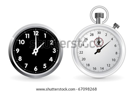 Realistic clock and stopwatch illustration isolated on white background - stock vector