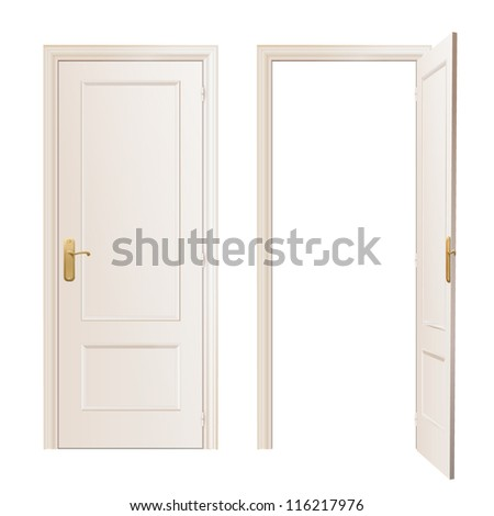 Realistic close and open door on white background. Vector design. - stock vector