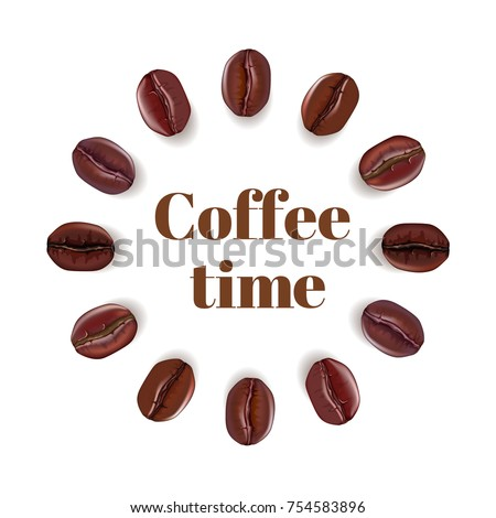 Realistic coffee beans placed in circle with place for text, isolated on white background. Vector illustration.