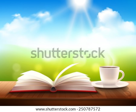Realistic coffee cup and open book on table with sunny summer background vector illustration - stock vector