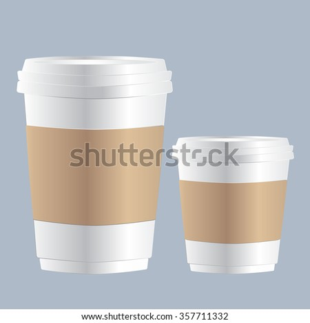 Realistic Coffee Paper Cups, template for your design, vector illustration