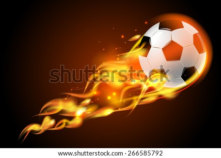 Realistic color soccer ball fire for football on black background poster vector illustration - stock vector