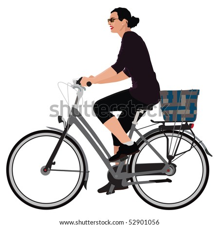Realistic color vector illustration of young lady riding bicycle. - stock vector