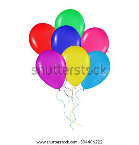realistic colorful balloons bunch background, holidays, greetings, wedding, happy birthday, partying on a white background - stock vector
