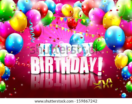Realistic colorful Birthday poster with balloons and 3D text - vector background - stock vector