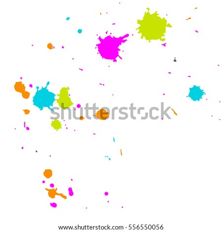 Realistic colorful blobs isolated on white, bright blobs of paint, blot, paint blurs, blotches on paper, colour paint blobs,blots, realistic drops of paint, blobs