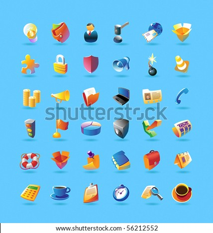 Realistic colorful vector icons set for business, finance and security on light blue background - stock vector