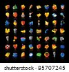 Realistic colorful vector icons set on black background - stock vector