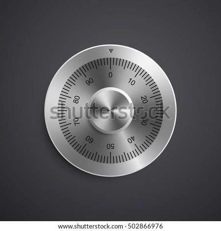 Realistic combination safe lock. Isolated on black background. Vector Illustration, eps 10.