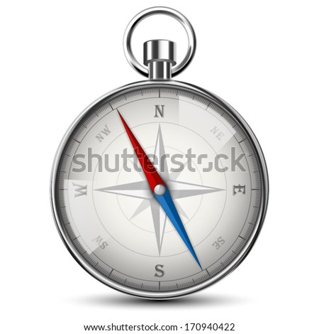 Realistic Compass Isolated On White. Vector Illustration.