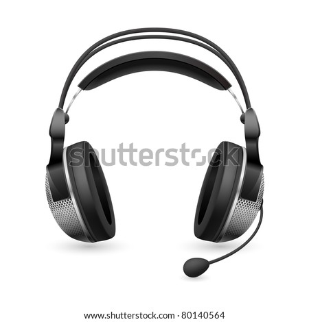 Realistic computer headset with microphone. Illustration on white background - stock vector