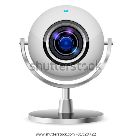 Realistic computer web cam. Illustration on white background - stock vector