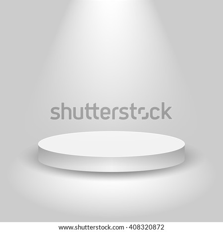 Realistic contest stage, empty white podium, place for product placement for presentation, winner podium or stage on gray background, vector - stock vector