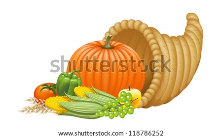 Realistic Cornucopia Illustration. Eps 10 Vector. - stock vector